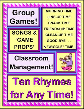 """TEN GROUP GAMES / RHYMES with a 'STEADY BEAT', for CLASSROOM MANAGEMENT! Good Morning Time, Clean-Up Time, Snack Time, Friendship Time, Transition Time, Good-Bye, and even """"Wiggle Times"""" are all represented. Use Rhythm and Rhyme to 'focus' your kids and get them moving from 'Point A' to 'Point B'. Colorful GAME PROPS and two SONGS are included. (15 pages) From Joyful Noises Express TpT! $"""