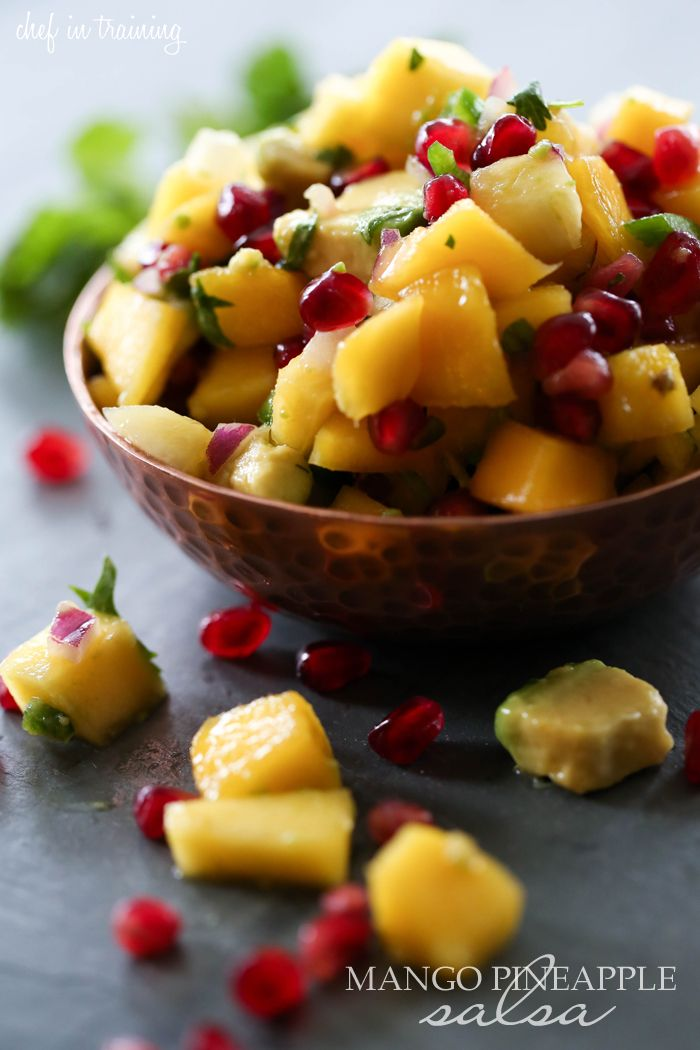 Mango Pineapple Salsa from chef-in-training.com ...This recipe is FLAWLESS! Seriously one of the most refreshing and delicious salsas you will ever eat! It is perfection!