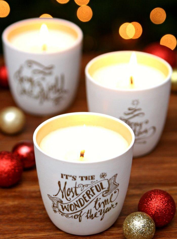 Duftkerzen selber beschriften und zu Weihnachten schenken, kleine Christbaumkugeln, it's the most wonderful time of the year