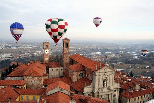 Hot air balloons over Mondovi,Italy  Province of Cuneo, Piemonte