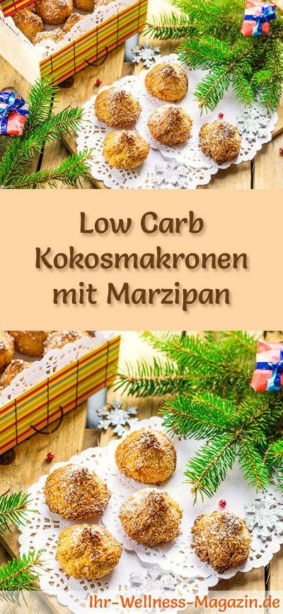 Low-Carb-Weihnachtsgebäck-Rezept für Kokosmakronen mit Marzipan: Kohlenhydratarme, kalorienreduzierte Weihnachtskekse - ohne Getreidemehl und Zucker gebacken ... #lowcarb #backen #weihnachten