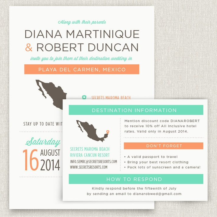 Locale - Modern destination wedding invitation with map. $4.00, via Etsy.