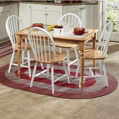 5pc White Tile Top Natural Solid Wood Dining Table Set