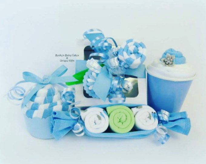 Bambino ragazzo regalo, regalo Baby Shower, Baby Boy, ospedale regalo, Onesie Cupcake, cesto regalo del bambino, bambino Washcloth, Baby Onesie, regalo personalizzato bambino
