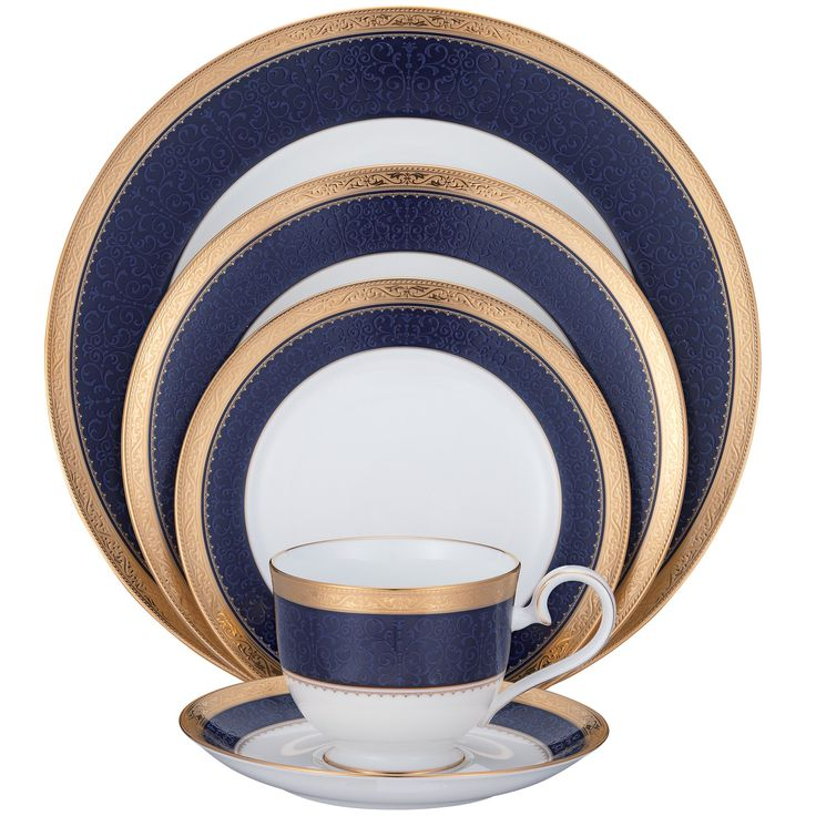 Buy Noritake White And Cobalt Blue Dinnerware Set Place Setting From  National Furniture Supply At Lowest Price And Great Service.