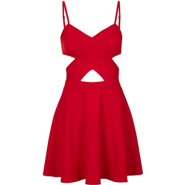TOPSHOP **Cut-Out Skater Dress by WYLDR ($74) ❤ liked on Polyvore featuring dresses, vestidos, short dresses, red, red cocktail dress, topshop dresses, cutout mini dress and red skater dress