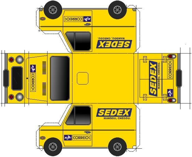 """Brazilian Correios Van Paper Model - by Papermau - Download Now! - == - This is the paper model of the traditional delivery van of """"Correios do Brasil"""", or """"Brazilian Correios"""". You need just one sheet of paper to build this little vehicle."""