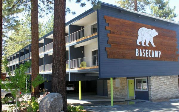 Room layout of Basecamp South Lake Tahoe hotels. Casual stay on the South Shore, looks fun for families and weekend getaways.