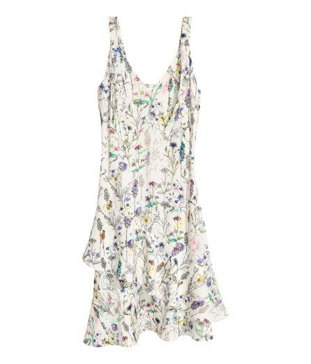 Check this out! Knee-length dress in crêped viscose with narrow shoulder straps. V-neck, decorative band at top, and asymmetric cut at hem with flounces. Unlined.  - Visit hm.com to see more.