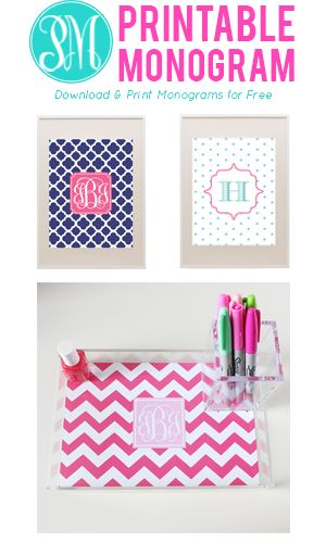 Free Printable Monograms + Free Printable Party Decorations