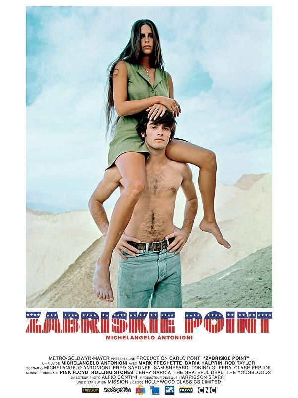 Zabriskie Point est un film de Michelangelo Antonioni avec Rod Taylor, Mark Frechette. Synopsis : Los Angeles, 1969. La contestation grandit dans les milieux universitaires. Marc, un jeune homme solitaire, est prêt à mourir pour la révolution mais