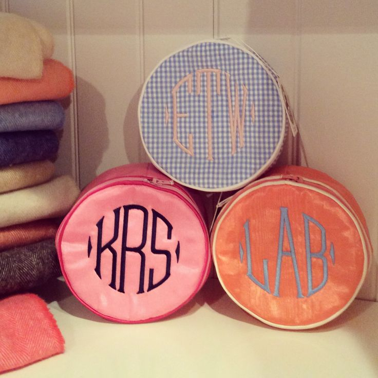 Monogrammed jewelry rounds are great for storage or travel from Monograms off Madison.