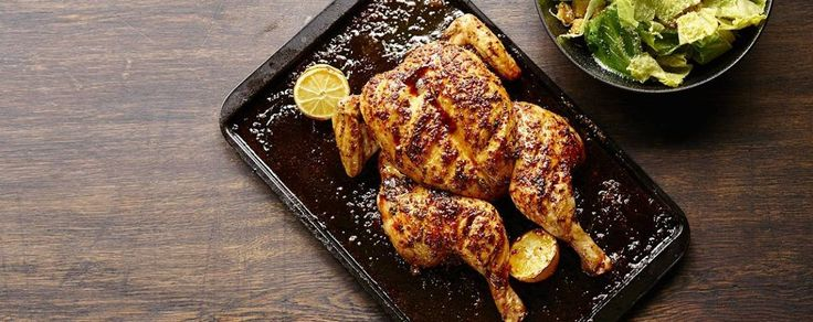 James Martin's spatchcock lemon and maple syrup roasted chicken with Caesar salad
