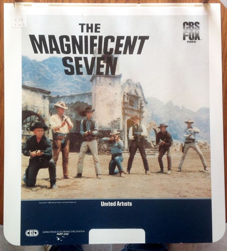 """""""The Magnificent Seven"""" Vintage Video Disc CED 2 Discs Western Yul Brynner EUC"""