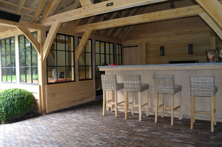 Gezellige bar onder het overdekt terras van dit sfeervolle poolhouse poolhouse pinterest - Buitenste stenen bar ...