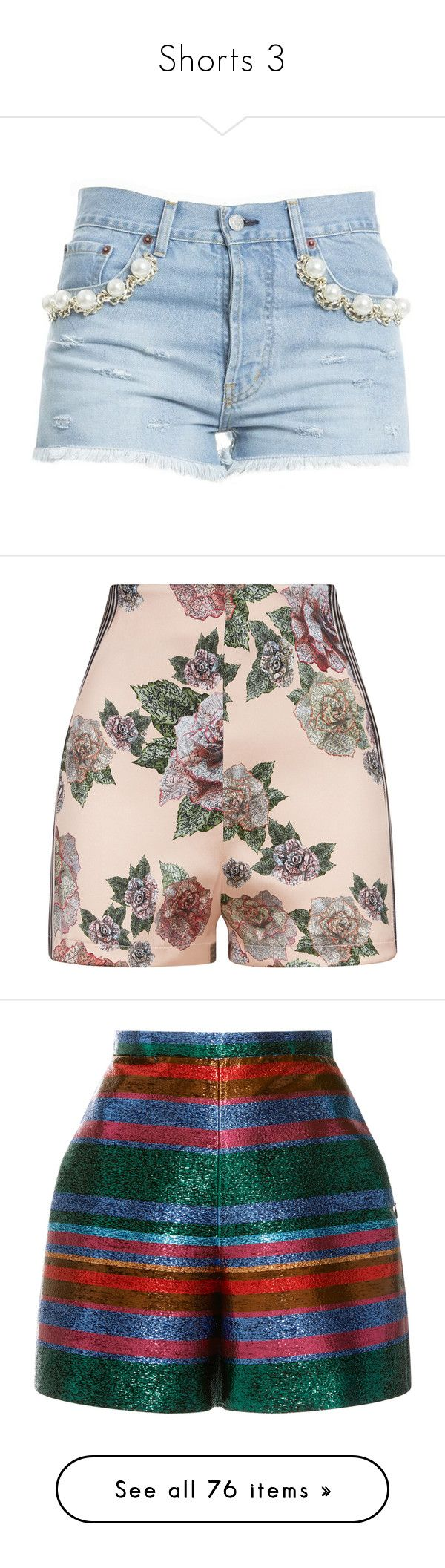 """""""Shorts 3"""" by laumariborche ❤ liked on Polyvore featuring shorts, light blue, womenclothingjeans, light blue shorts, blue cotton shorts, bottoms, pants, green, high rise shorts and high-rise shorts"""