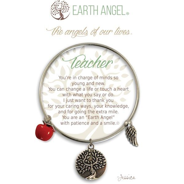 """Teacher Earth Angel Bangle - Earth Angels is a beautiful line of expandable charm bracelets created to thank, recognize and celebrate all the """"Earth Angels"""" who have positively impacted our lives. Each bangle comes in an gift box making it the perfect gift for your """"angel""""."""
