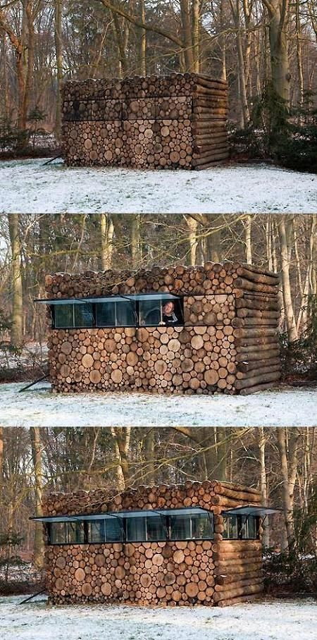O cabana din busteni foarte bine camuflata