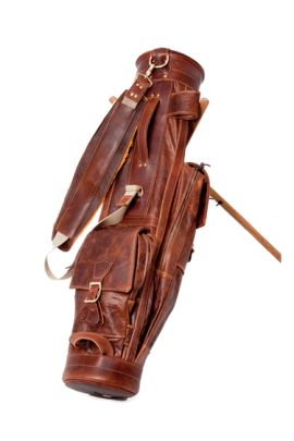 image of leather golf bag | ... leather traditional airliner design