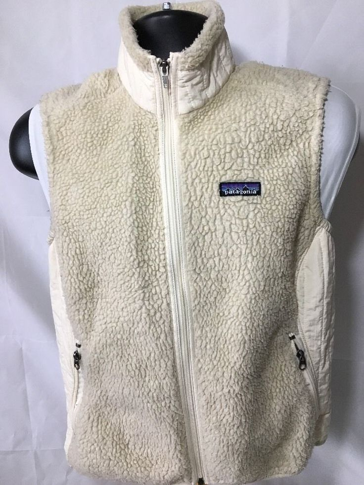 Vtg Patagonia Retro X Fleece Vest Women's Size Large L Textured Off White  | eBay