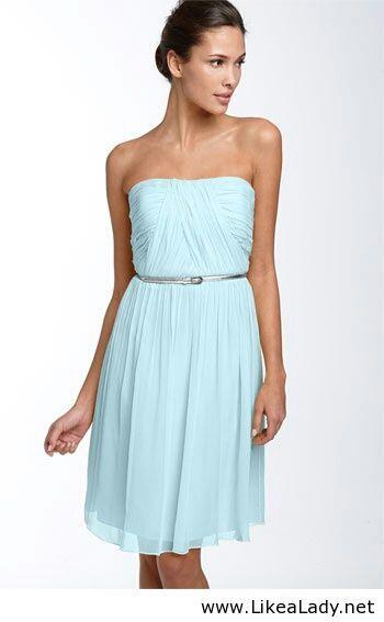 light blue dress with silver belt clothes