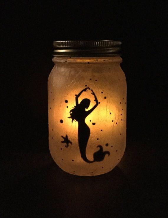 Mermaid Lamp Mason Jar Lamp Lantern Mermaid by CreativeVinylForYou  MERMAID ITEMS  Mermaid