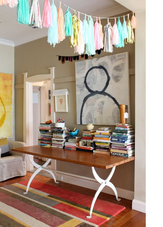 Love this because I've been itching to put a Confetti System garland in the house but wondered if it would look silly .... nope! Source: http://thedesignfiles.net/2011/03/sydney-home-rachel-castle-and-family/