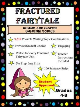 Are you and your students tired of traditional writing? Spice up your Fairy tale Unit with these engaging, student approved Sentence Strips. With over 5000 possible silly writing starters, your kids will not only ask to do this activity over and over again they will love to share their final pieces with you and their peers.Simply Print and prepare for a prep free writing to accompany any Fairy Tale unit.Students will randomly select one sentence strip from each color category to create their…