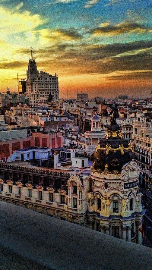 Madrid at sunset as seen from the top of the Circulo de Bellas Artes