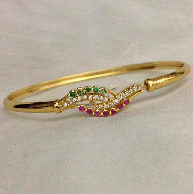 CZ and ruby emerald stone kada Code : BAK 382 Price : 550/- Whatsapp to 09581193795/- for order processing....