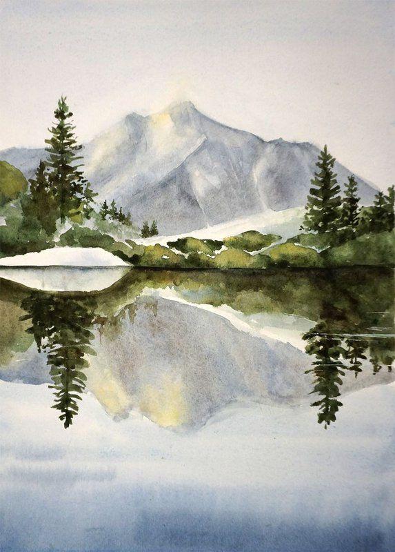 Morgenlandschaft Original Aquarell Berge Wald See Natur