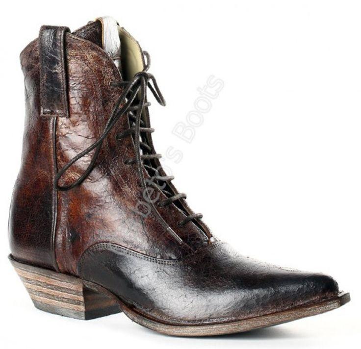 5786 JC Barbados Quercia | Botín cowboy acordonado cuero desgastado F. J Sendra para mujer