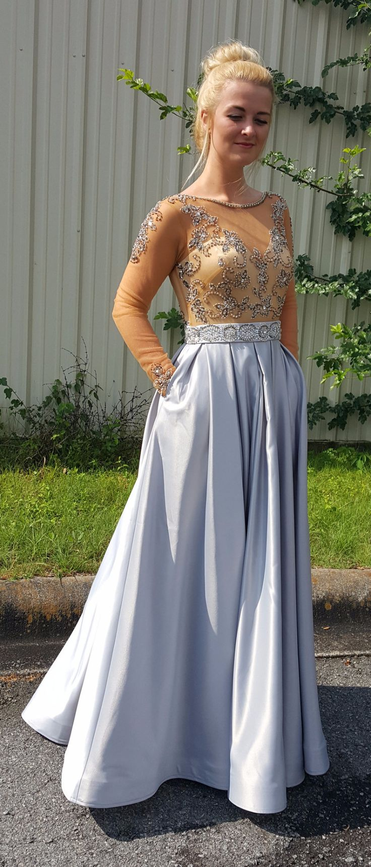Silver and Nude Formal Dress