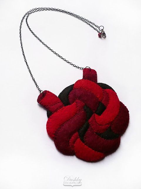 necklace by #dushky   #jewelry #accessories #felt #necklace #knot #anatomy #heart #red #handmade #crafts
