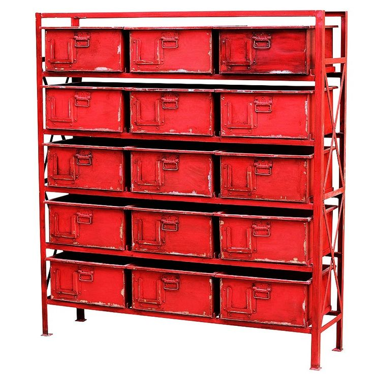 Lots of industrial storage furniture on this website - Zin Home Industrial 15 Drawer Chest-Dark Red | Zin Home
