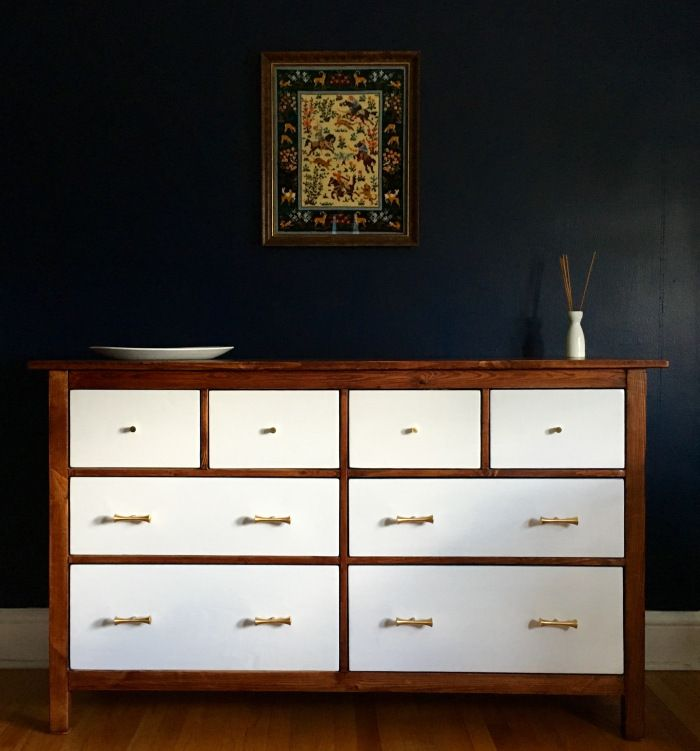 Hemnes Dresser Turned Mid-Century Modern like the contrasting colours