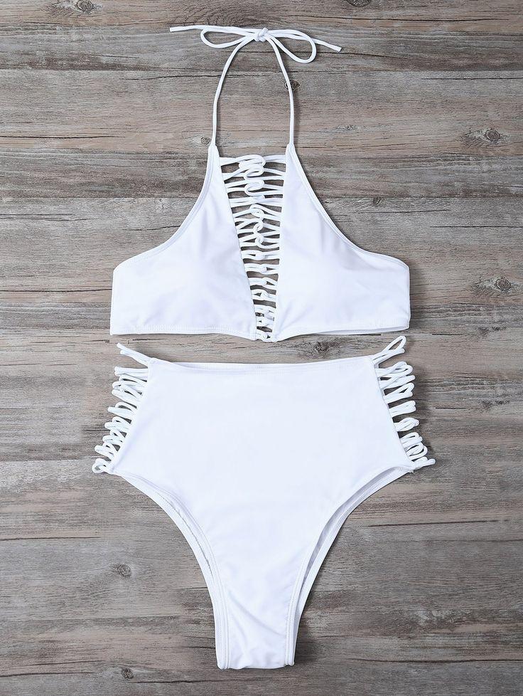 High Waisted Lace-Up Bikini Set - WHITE XL