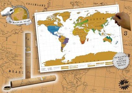 Nog zo'n ideale wereldkaart voor iedere wereldreiziger, want foto's zijn leuk om te laten zien, en vlaggetjes op een kaart zijn prima, maar een Scratch Map is uniek!