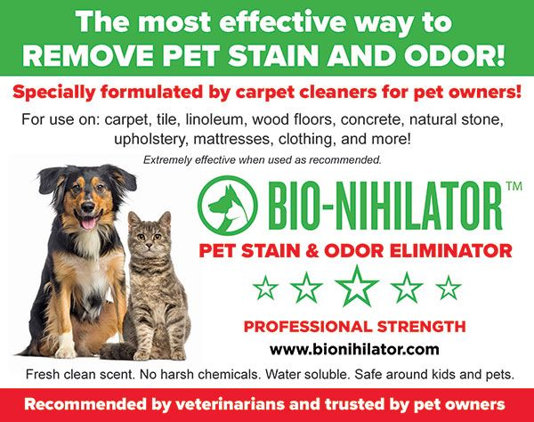 Bio Nihilator Is A Necessity For All Pet Owners Take Care Of Your Home And Remove Pet Odor And Stains With Ease Pet Stains Remove Pet Stains Pet Odor Remover