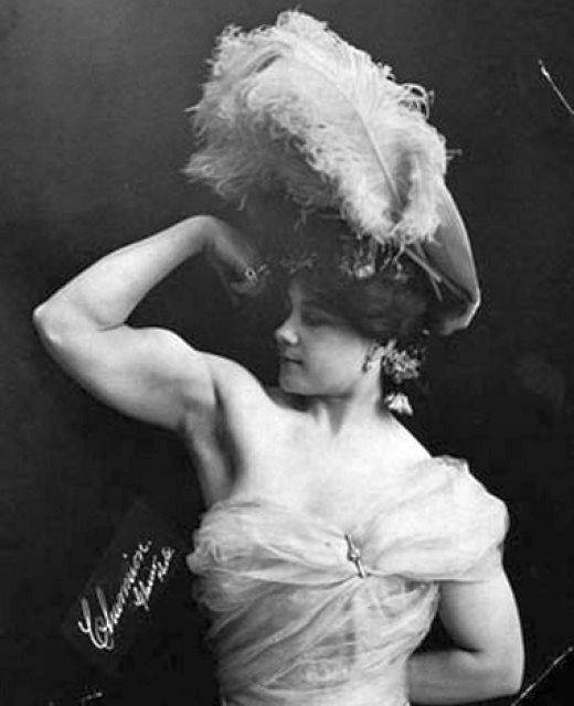 Katie Sandwina, circus strongwoman (1884 – January 21, 1952), born Katharina Brumbach in Vienna, Austria. Likely the first woman to first woman in history to clean and jerk over 300 lb (a record not equaled again until 1987 (by Karyn Marshall).