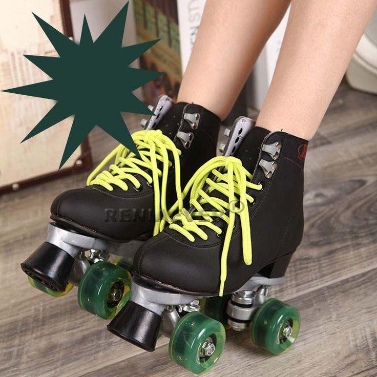 Roller Skates Black With Green Led Lighting Wheels Double Line Skates Adult 4 Wheels Two line Roller Skating Shoes