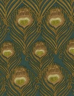 "Liberty of London Art Nouveau ""Hera"" peacock feather print"