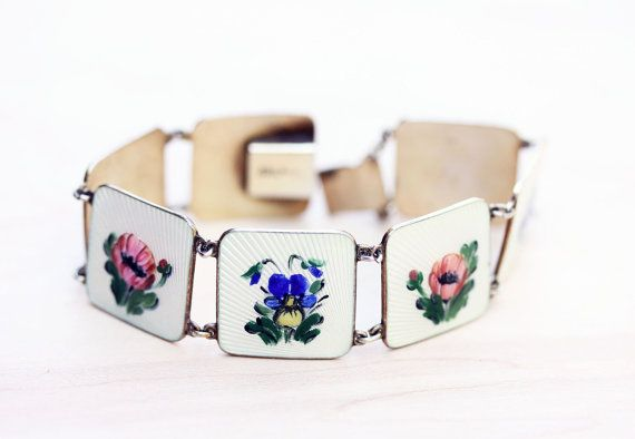 Sterling Silver Square Links Flower Enamel by diamentdesigns