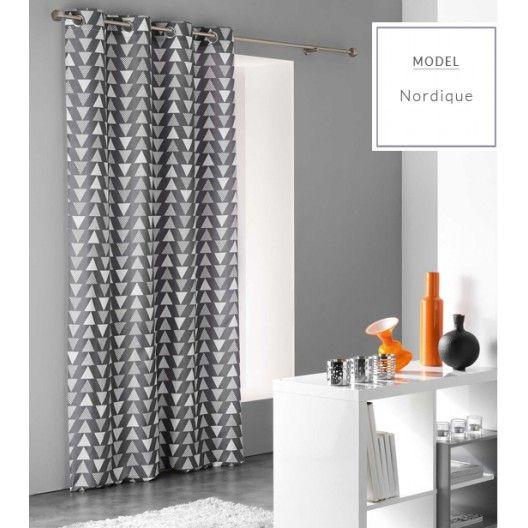 Luxusný sivý záves so severským vzorom