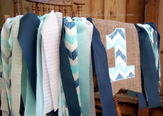 Blue Chevron Boy Shabby Shic HIGH CHAIR by fringeswithbenefits