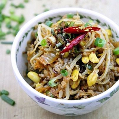 ... Rice Bowls, Bean Sprouts, Asian Food, Sprouts Rice, Vegan Recipes, Bap
