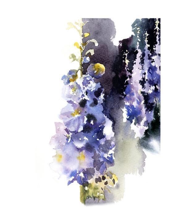 Delphinium Flowers Fine Art Print Blue Floral Watercolor Abstract