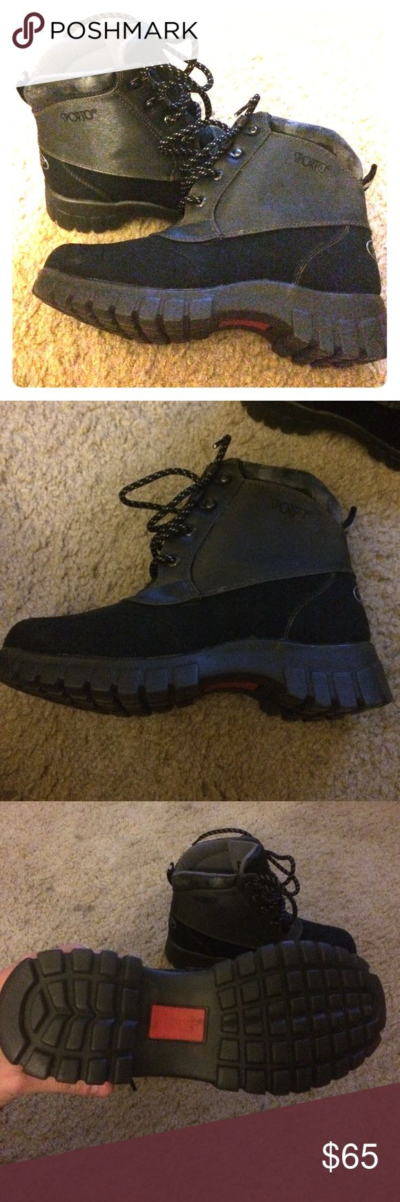 "Sporto ""Original Ducks""thermolite winter boots NWT NWT sporto boots vanna style. Tag says they have Thermolite performance insulations -DuPont certified insulation -Exceptional warmth -Odorless & non-allergenic -Insole retains thermal benefits even when damp -durable. Coined the ""Original Ducks"". Wear pictures in the forth picture, discoloring and some shedding on only the top lining of the boots from sitting in the box for so long. Otherwise in AMAZING condition!! Sporto Shoes Winter & Rain…"