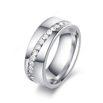 Slash Diamonds Steel Ring