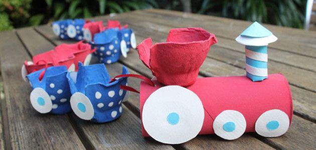 Tren con huevera de cartón y tubos de papel higiénico #manualidades